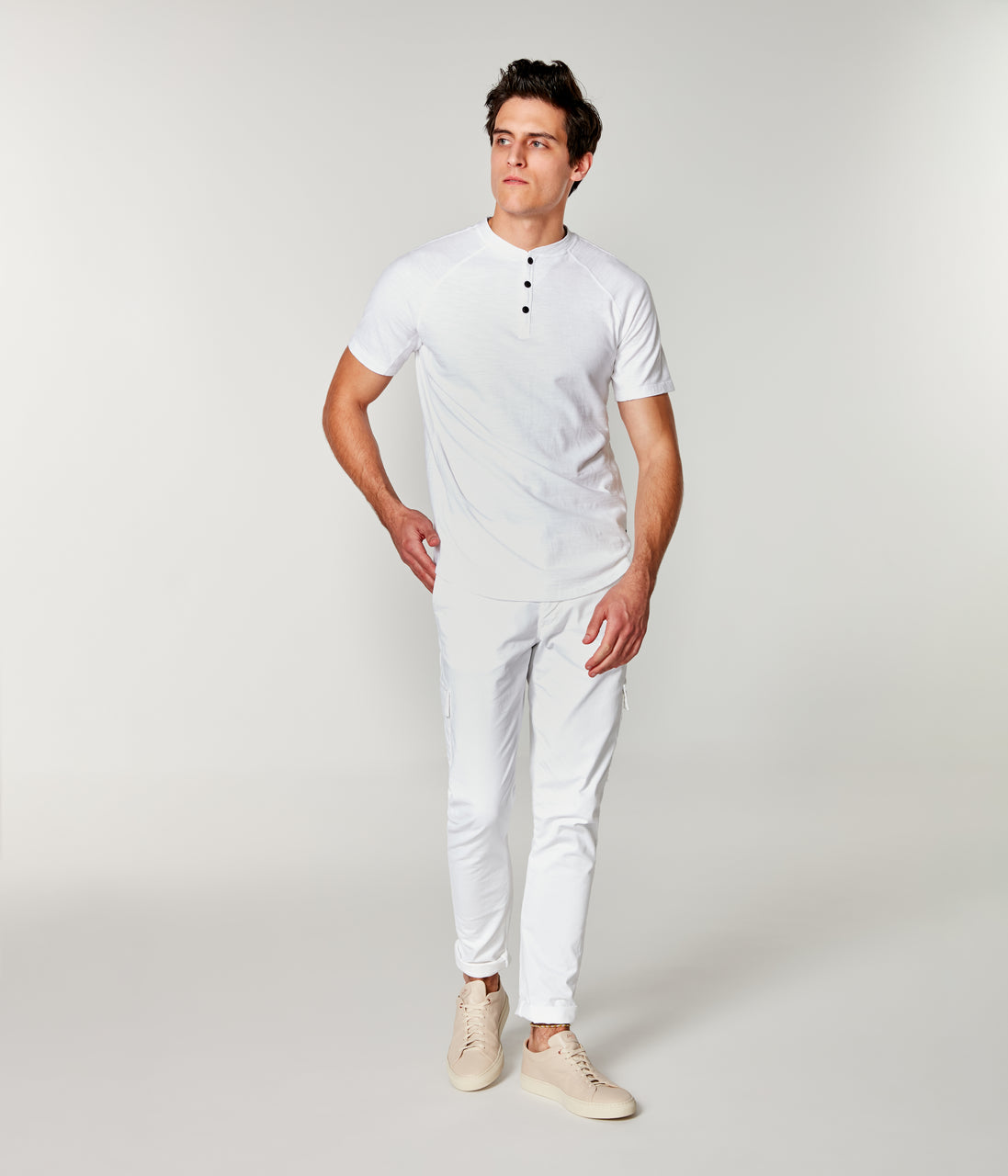 Soft Slub Jersey Legend Henley - White - Good Man Brand - Soft Slub Jersey Legend Henley - White