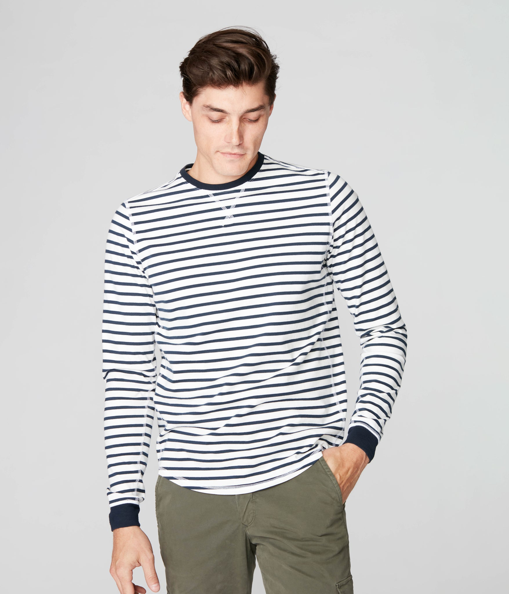 Legend Crew in Premium Stripe - White/Sky Captain