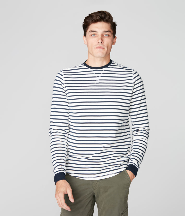 Legend Crew in Premium Stripe - White/Sky Captain - Good Man Brand
