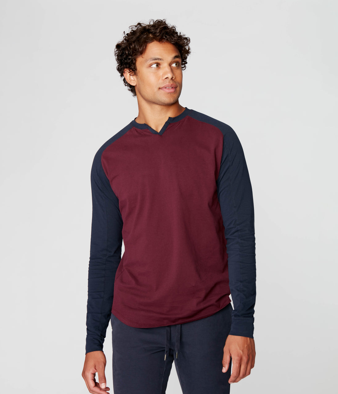 Baseball V-Notch in Premium Cotton Jersey - Wine/Sky Captain - Good Man Brand - Baseball V-Notch in Premium Cotton Jersey - Wine/Sky Captain