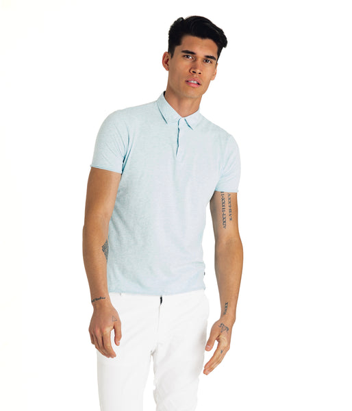 Heather Soft Jersey Polo - Blue Heather - Good Man Brand -