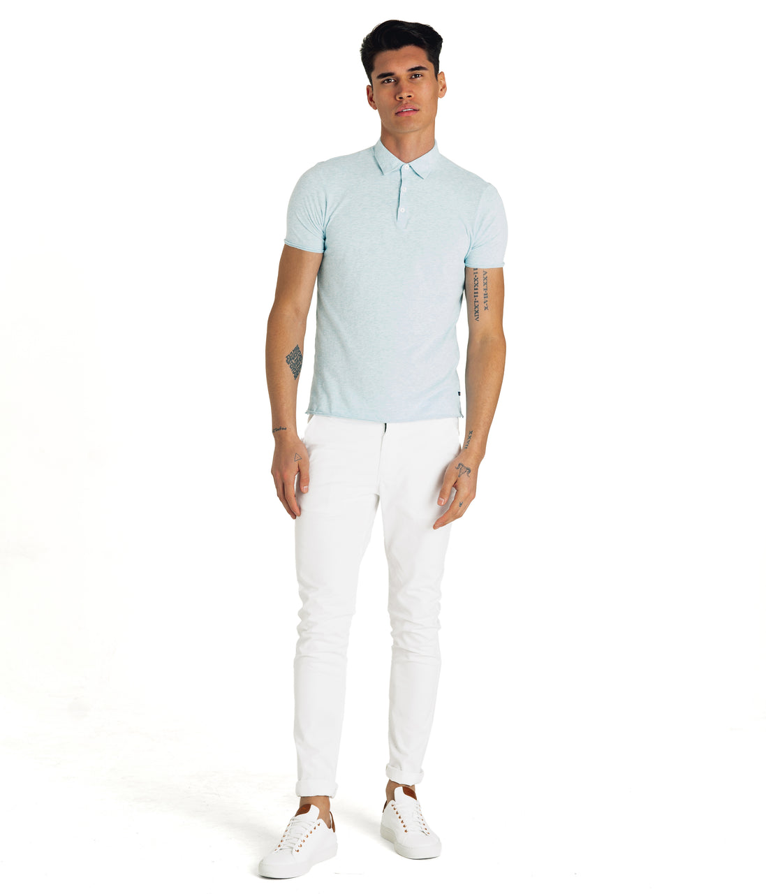 Heather Soft Jersey Polo - Aqua Heather - Good Man Brand - Heather Soft Jersey Polo - Aqua Heather