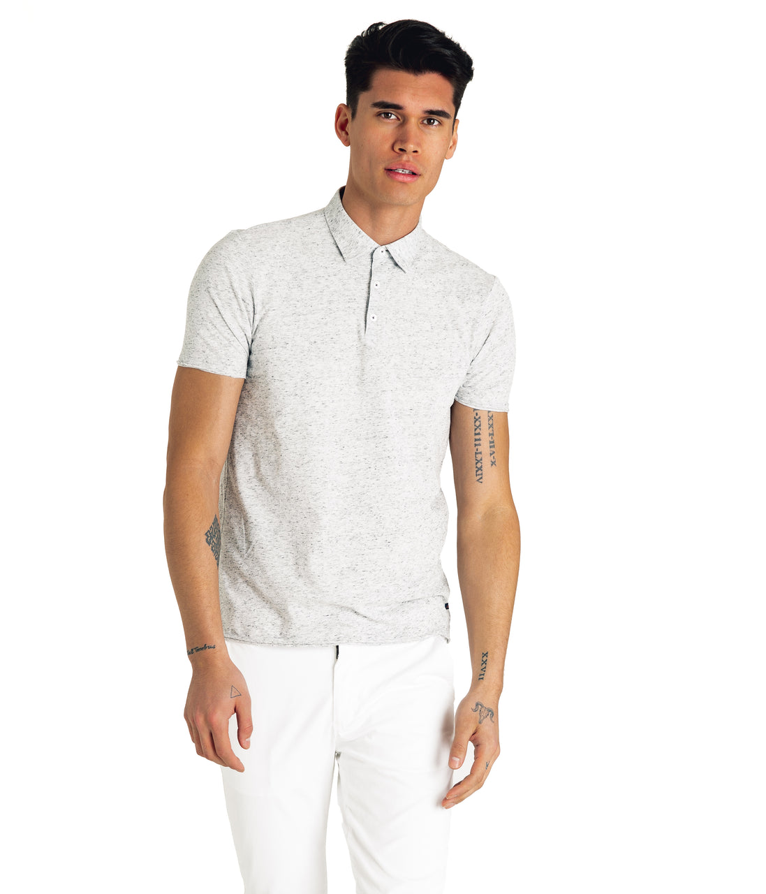 Heather Soft Jersey Polo - Silver Heather - Good Man Brand - Heather Soft Jersey Polo - Silver Heather