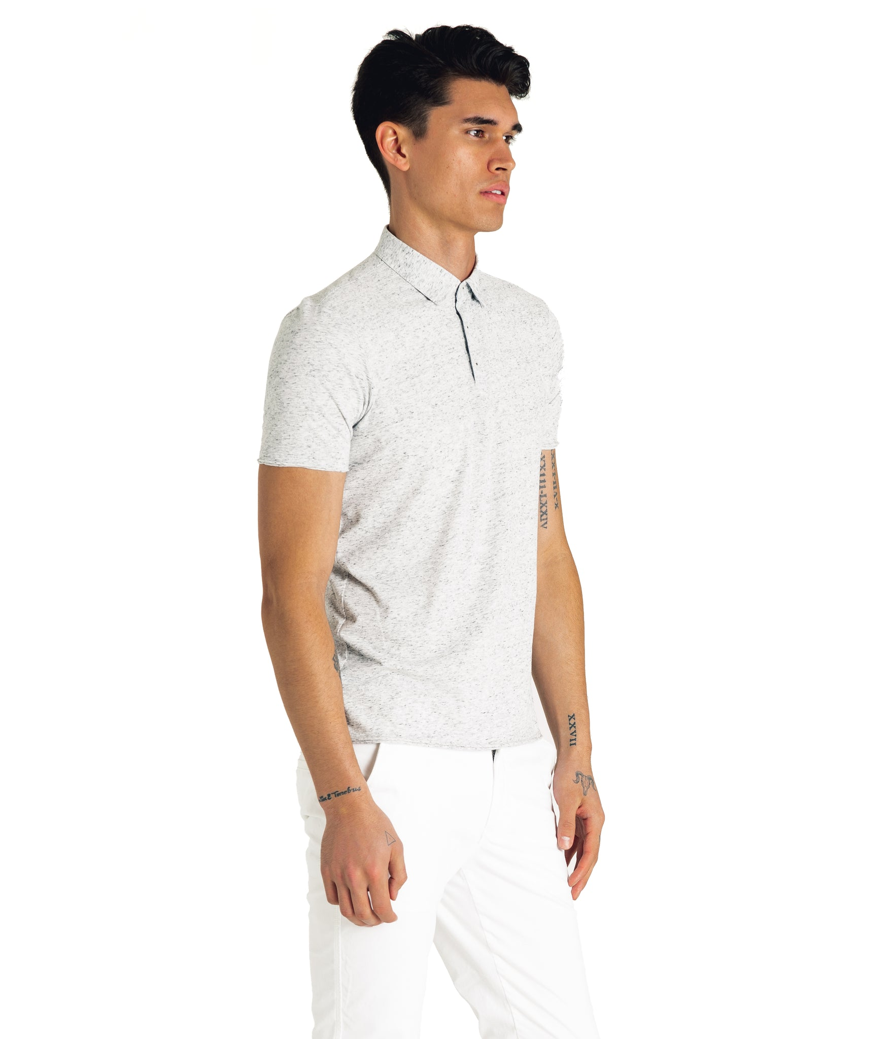Heather Soft Jersey Polo - Silver Heather