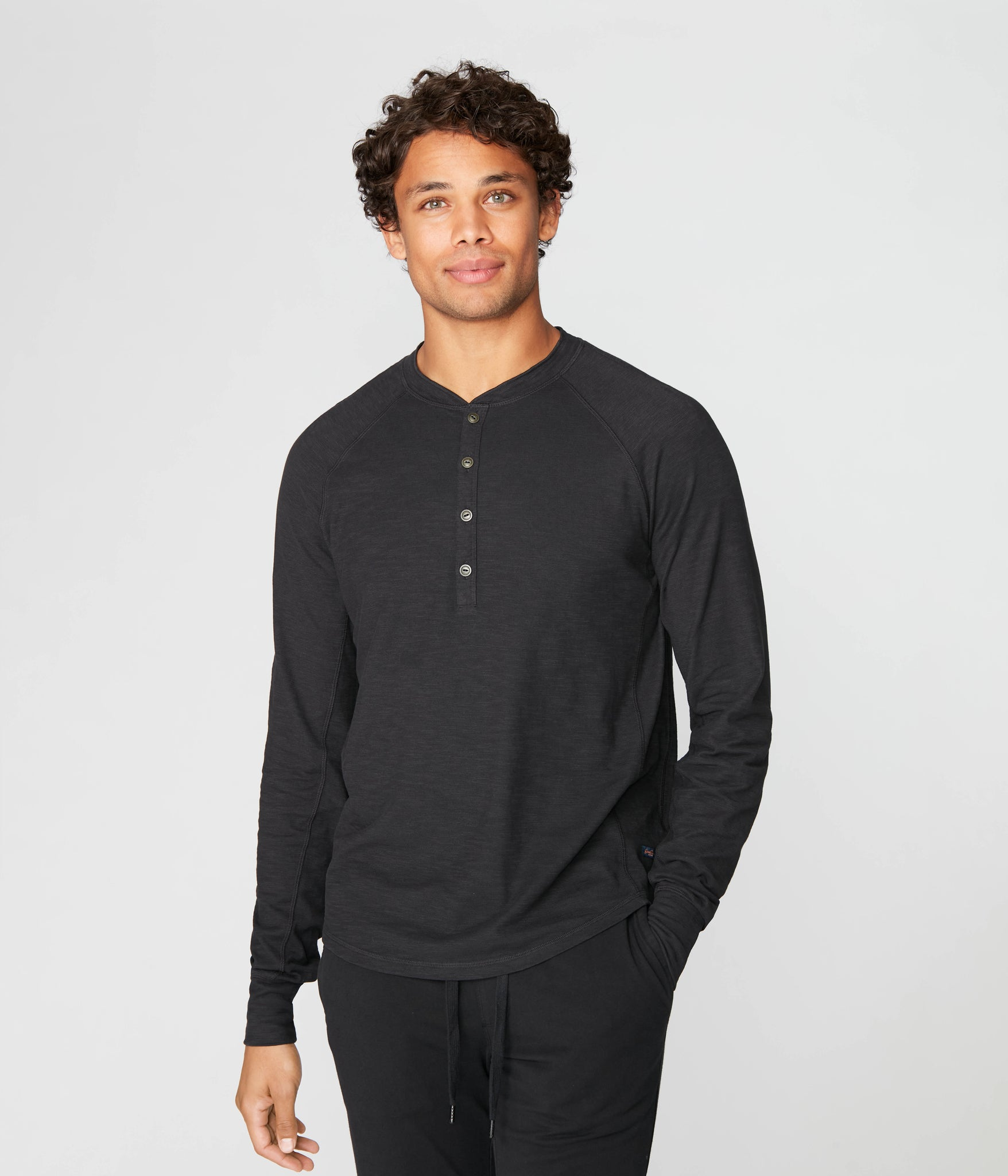 Legend Henley in Black Marl Soft Slub - Black
