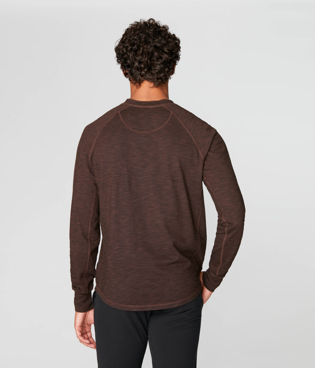 Legend Henley in Black Marl Soft Slub - Black Coffee - Good Man Brand - Legend Henley in Black Marl Soft Slub - Black Coffee