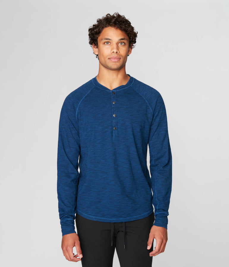 Legend Henley in Black Marl Soft Slub - Blue - Good Man Brand