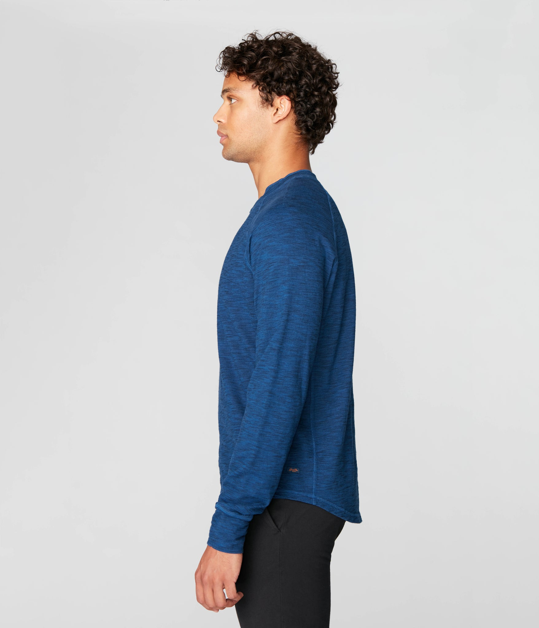 Legend Henley in Black Marl Soft Slub - Blue
