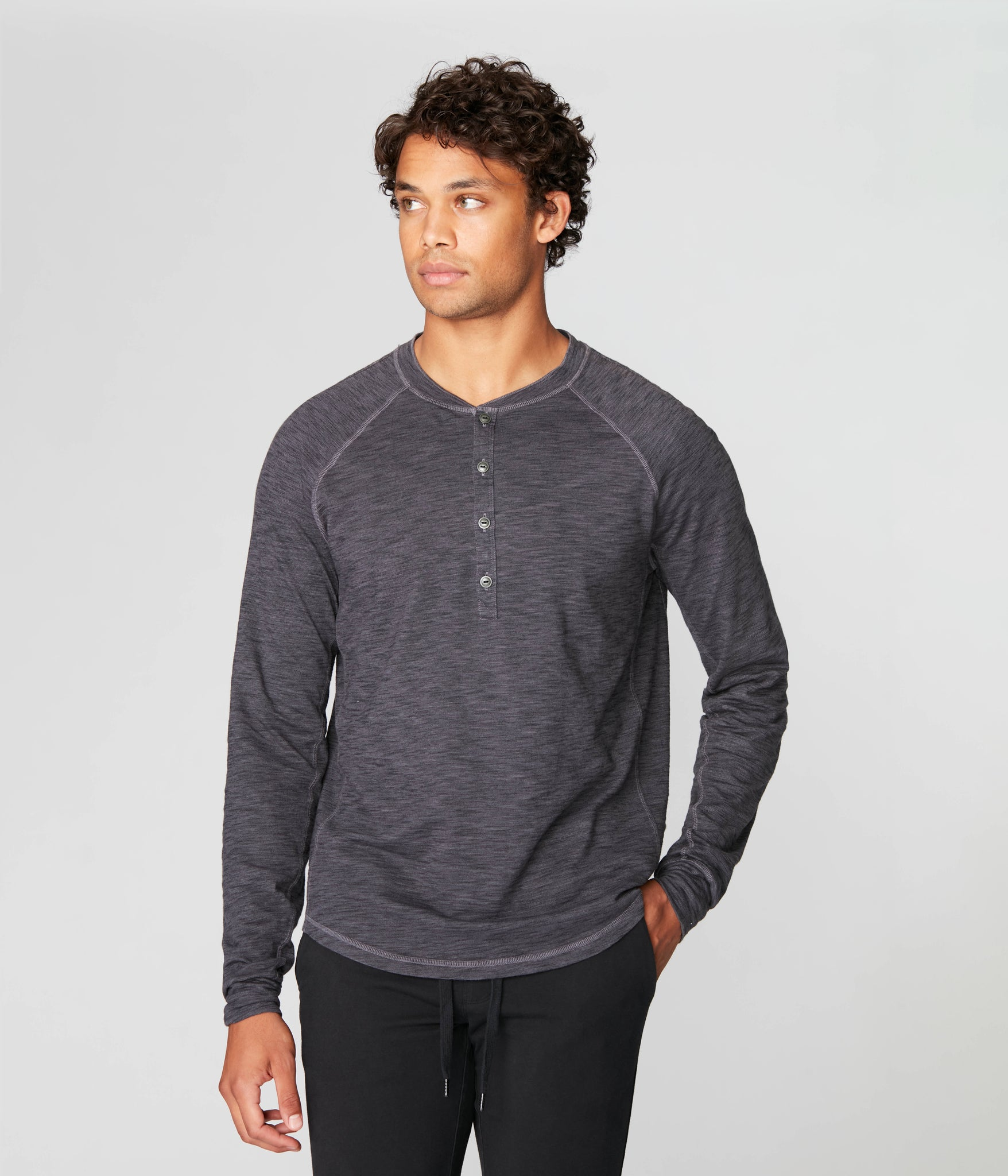Legend Henley in Black Marl Soft Slub - Magnet