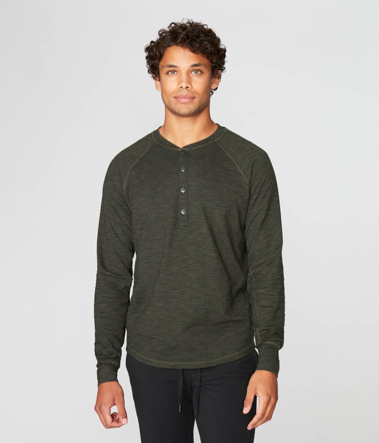Legend Henley in Black Marl Soft Slub - Rifle Green Dark - Good Man Brand