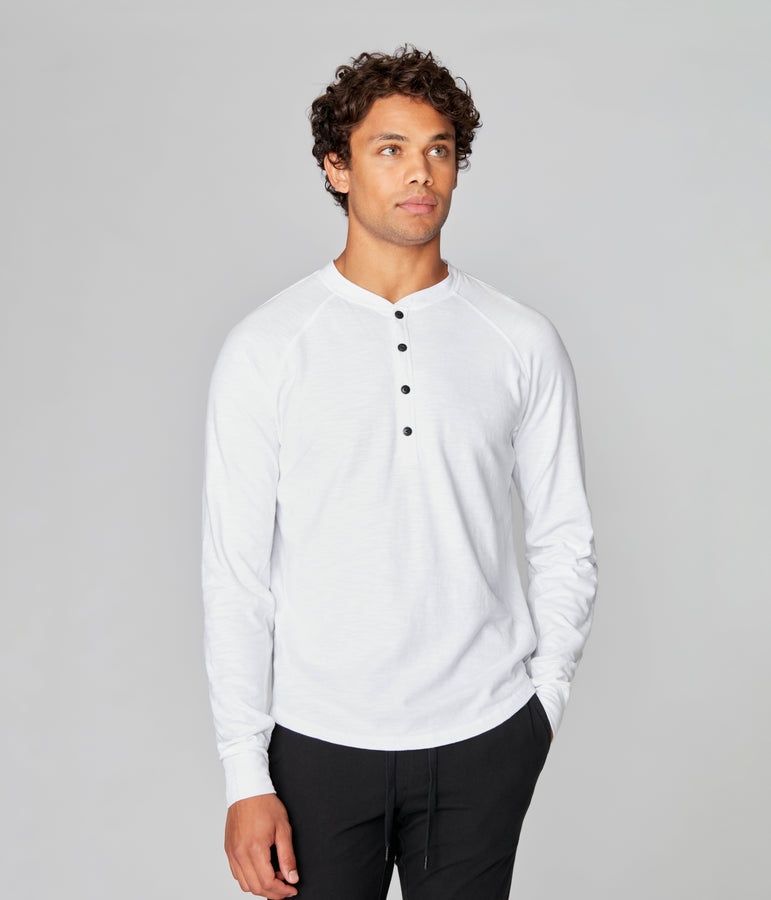 Legend Henley in Black Marl Soft Slub - White - Good Man Brand
