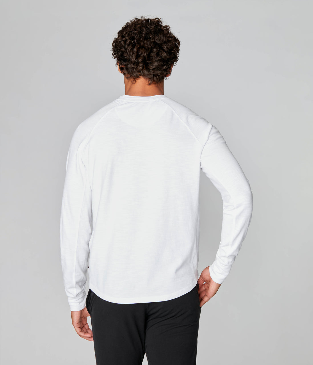 Legend Henley in Black Marl Soft Slub - White - Good Man Brand - Legend Henley in Black Marl Soft Slub - White