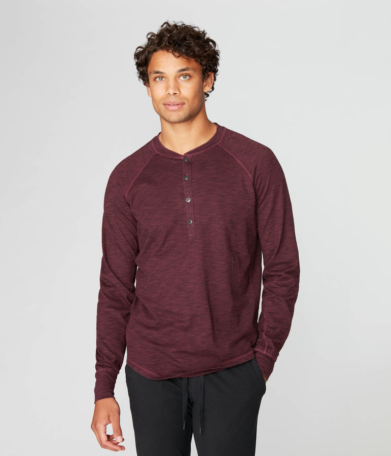 Legend Henley in Black Marl Soft Slub - Wine - Good Man Brand