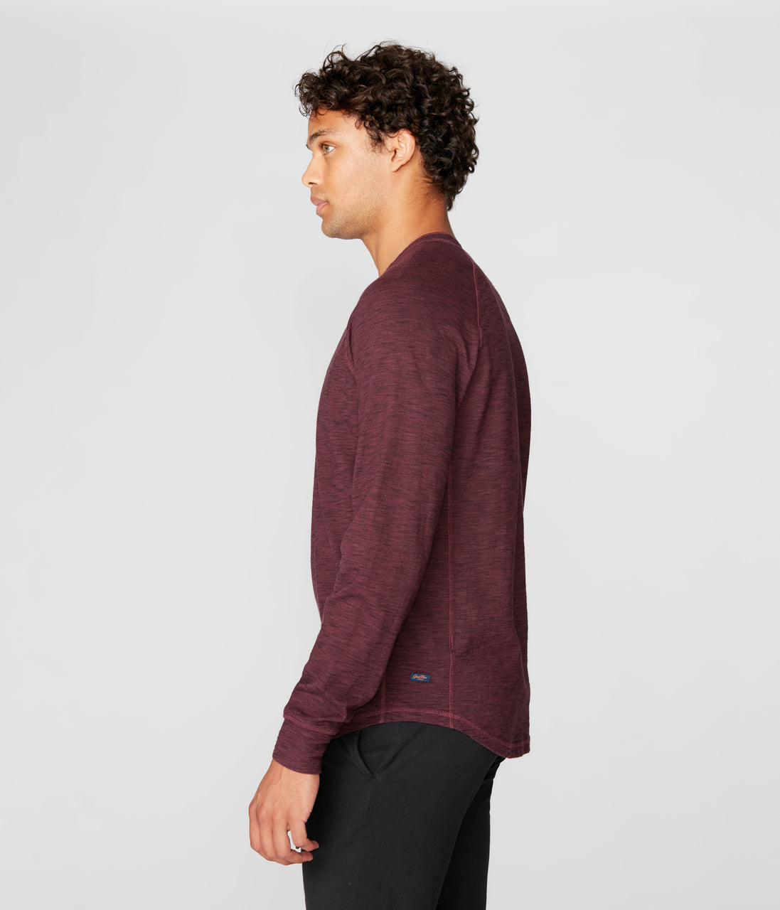 Legend Henley in Black Marl Soft Slub - Wine - Good Man Brand - Legend Henley in Black Marl Soft Slub - Wine