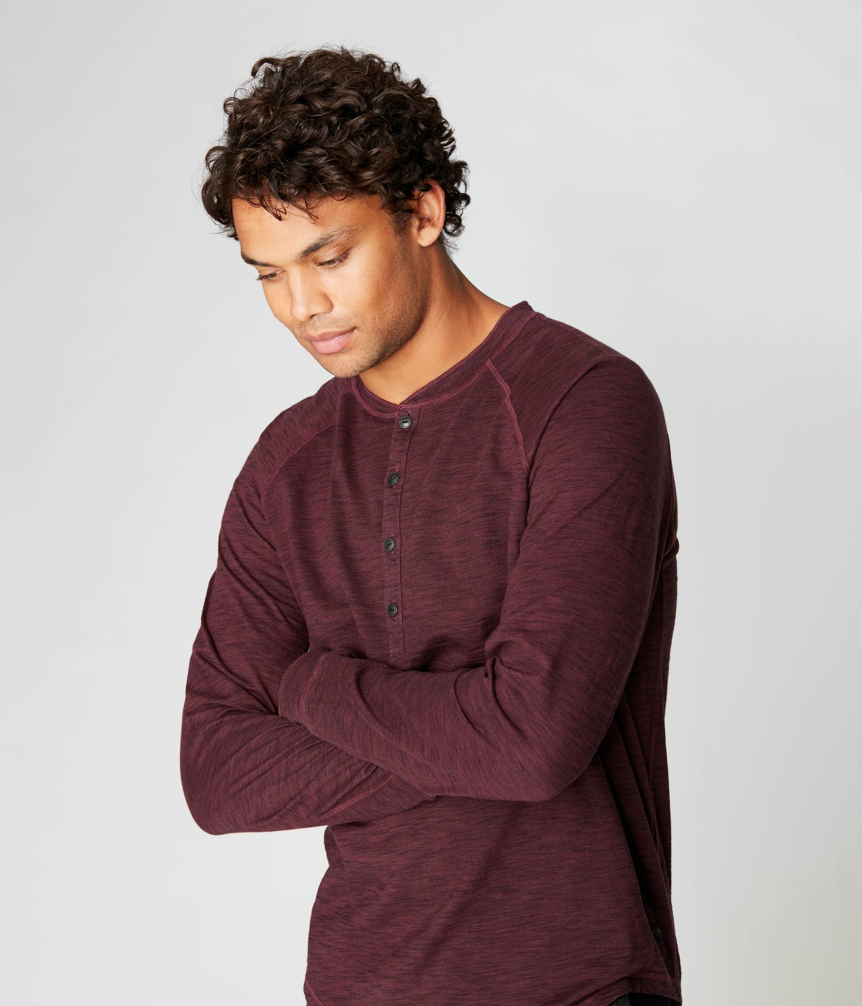 Legend Henley in Black Marl Soft Slub - Wine