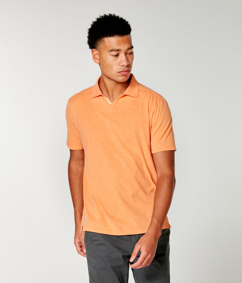Heather Jersey Notch Neck Polo - Blazing Orange Heather - Good Man Brand
