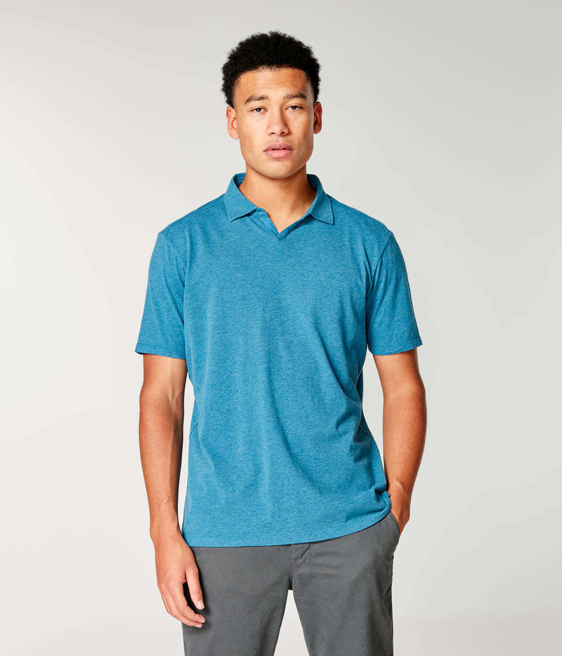 Heather Jersey Notch Neck Polo - Sea Heather - Good Man Brand - Heather Jersey Notch Neck Polo - Sea Heather