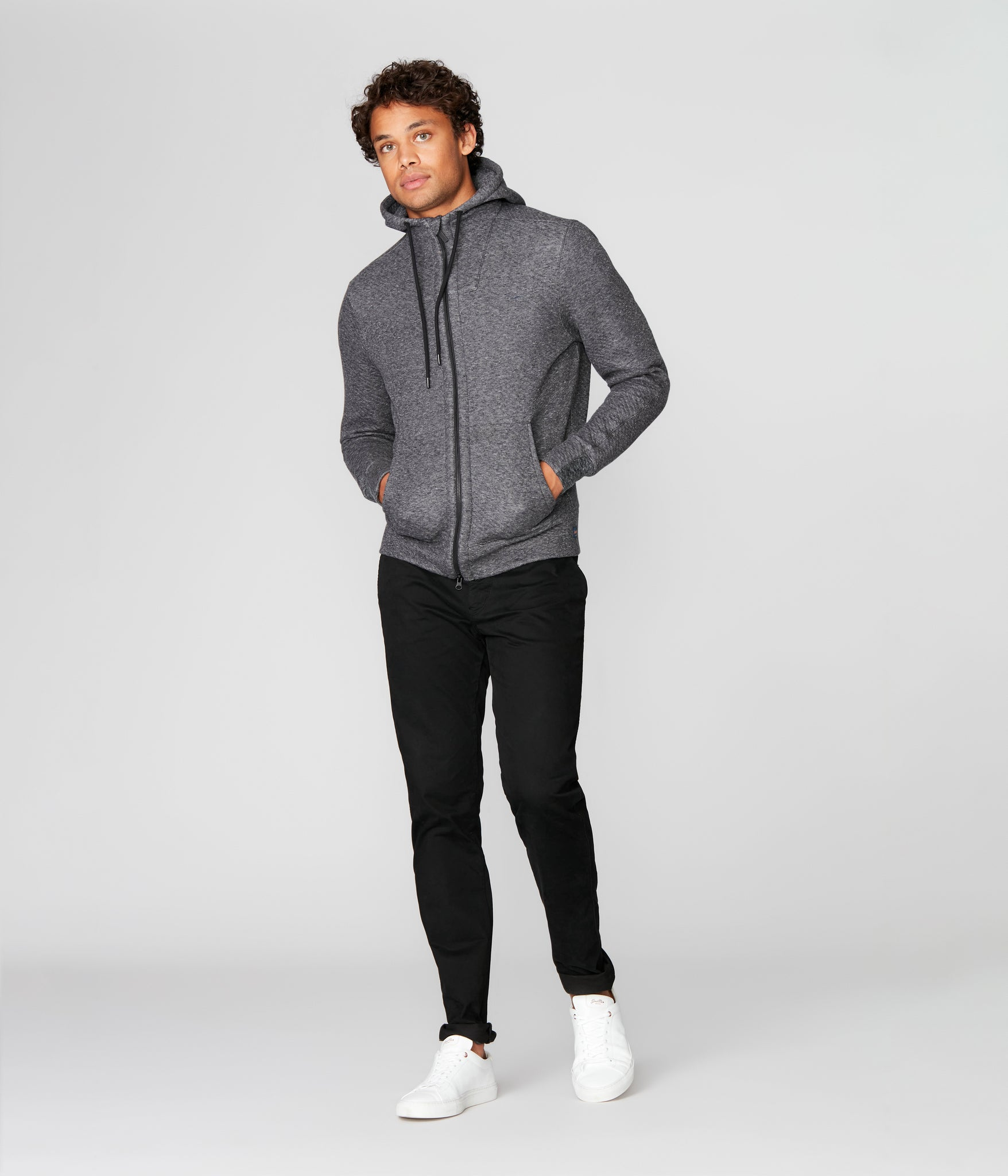 Twill Quilt Jacquard Knit Pro Zip Hoodie - Charcoal Heather