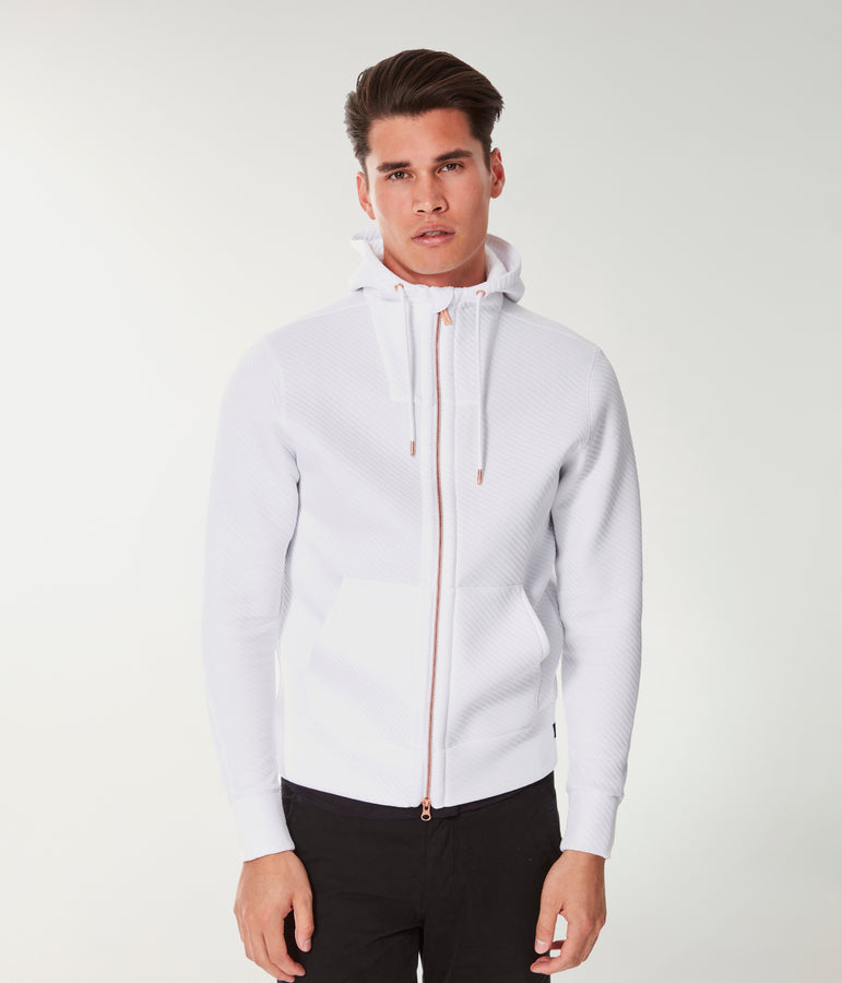 Twill Quilt Jacquard Knit Pro Zip Hoodie - White - Good Man Brand