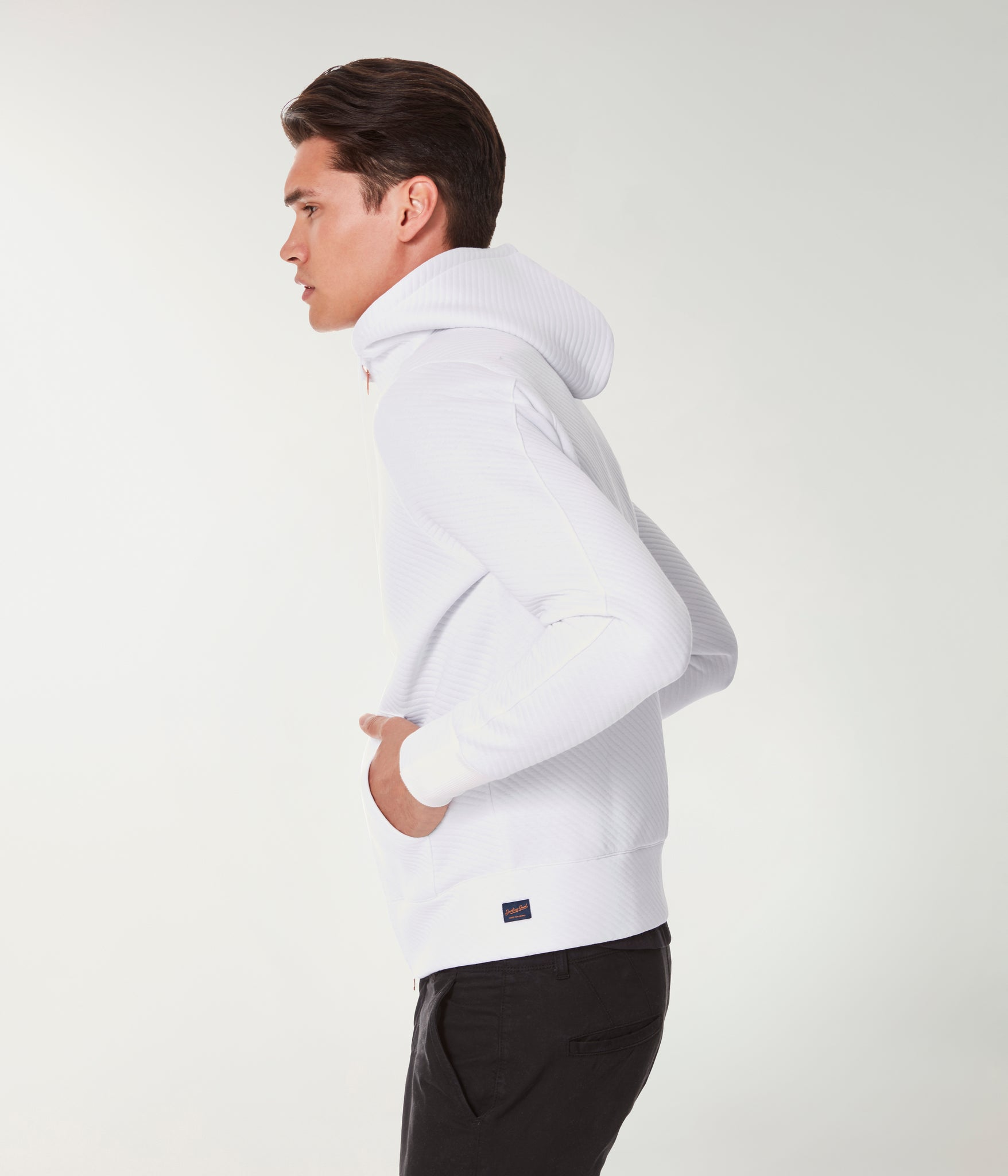 Twill Quilt Jacquard Knit Pro Zip Hoodie - White