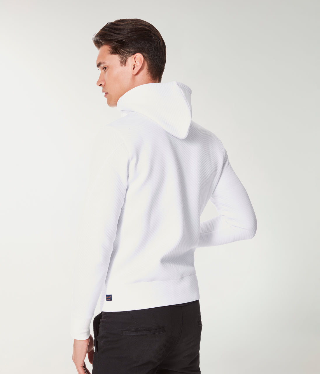 Twill Quilt Jacquard Knit Pro Zip Hoodie - White - Good Man Brand - Twill Quilt Jacquard Knit Pro Zip Hoodie - White