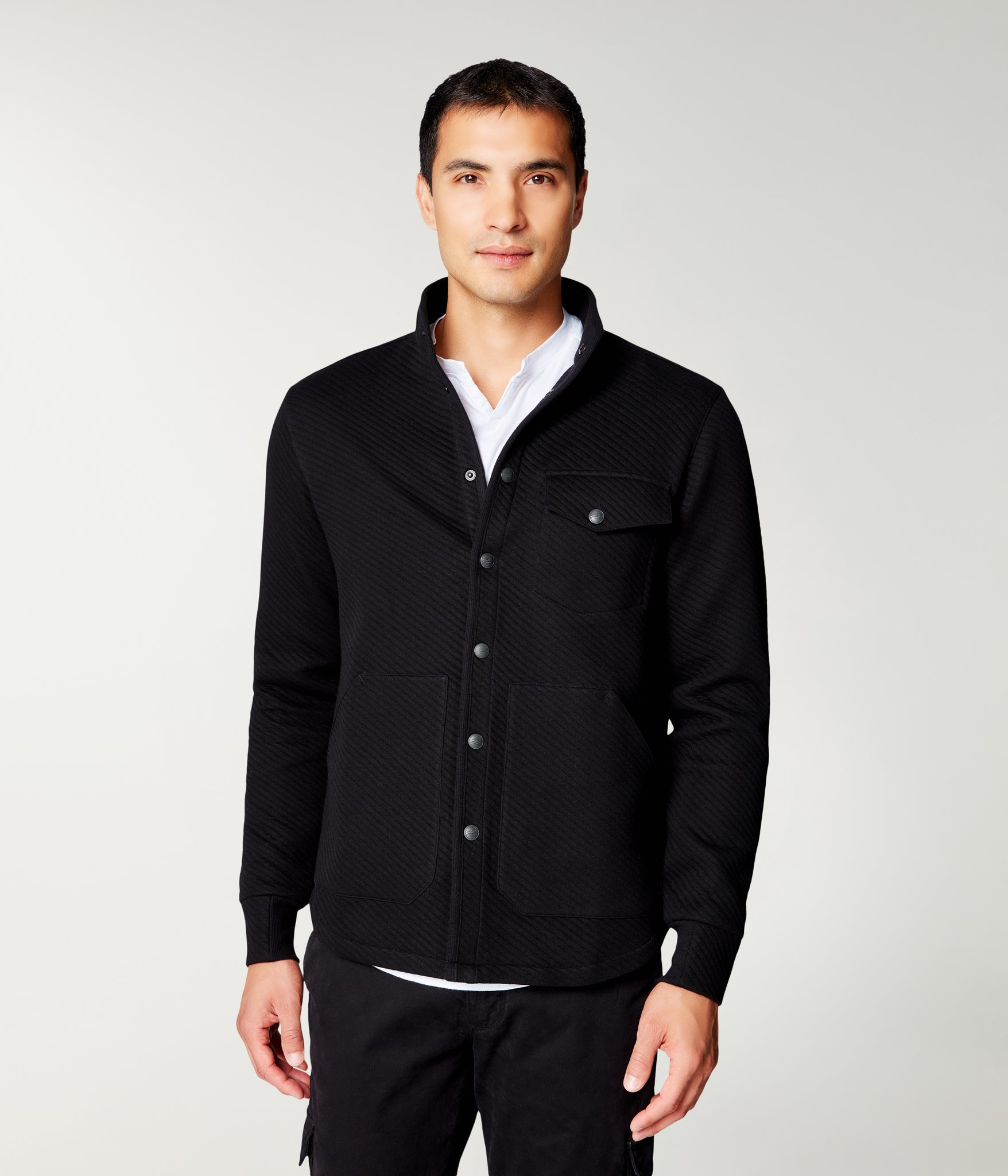 Fuji Shirt Jacket in Twill Quilt Jacquard - Black
