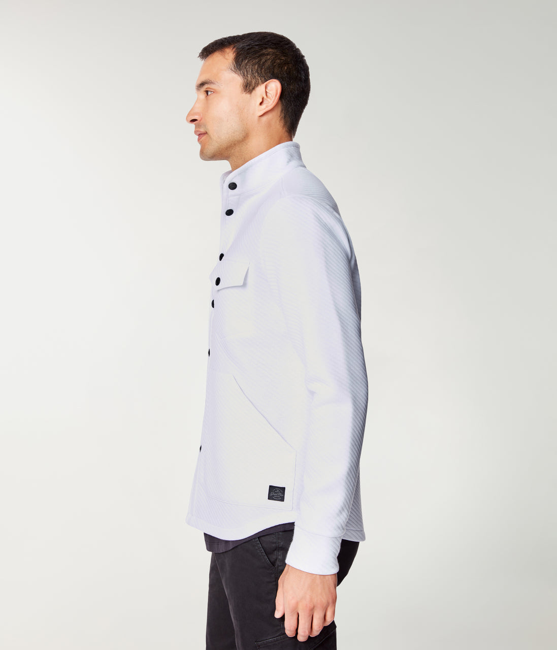 Twill Quilt Jacquard Fuji Shirt Jacket - White - Good Man Brand - Twill Quilt Jacquard Fuji Shirt Jacket - White