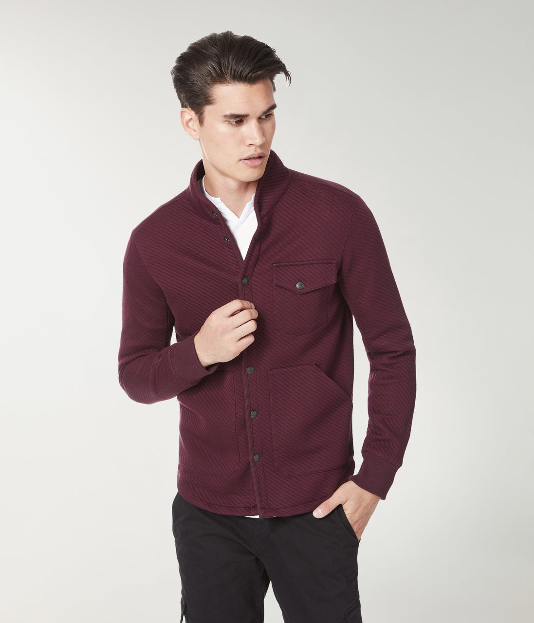 Fuji Twill Quilt Jacquard Shirt Jacket - Wine - Good Man Brand - Fuji Twill Quilt Jacquard Shirt Jacket - Wine