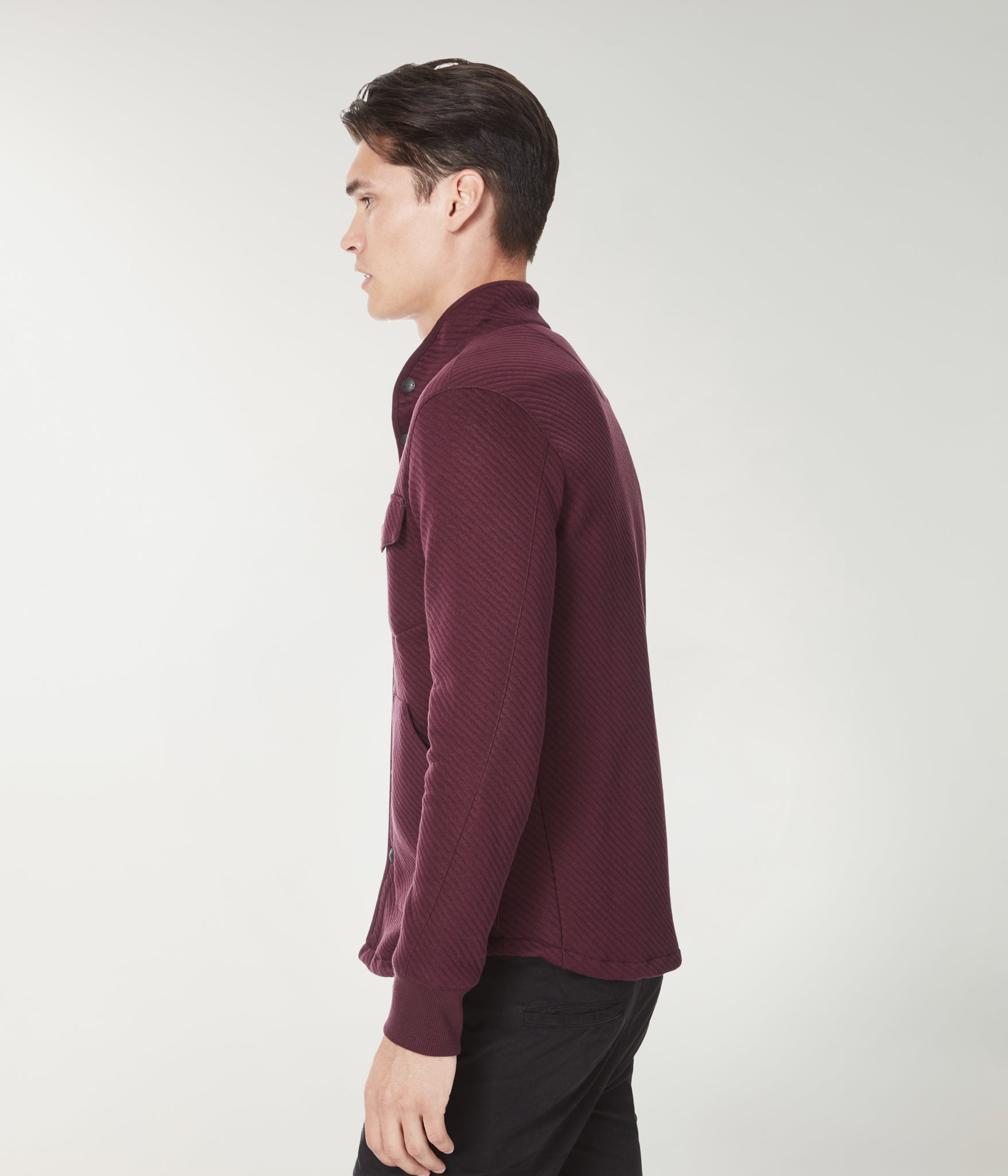 Fuji Shirt Jacket in Twill Quilt Jacquard - Wine