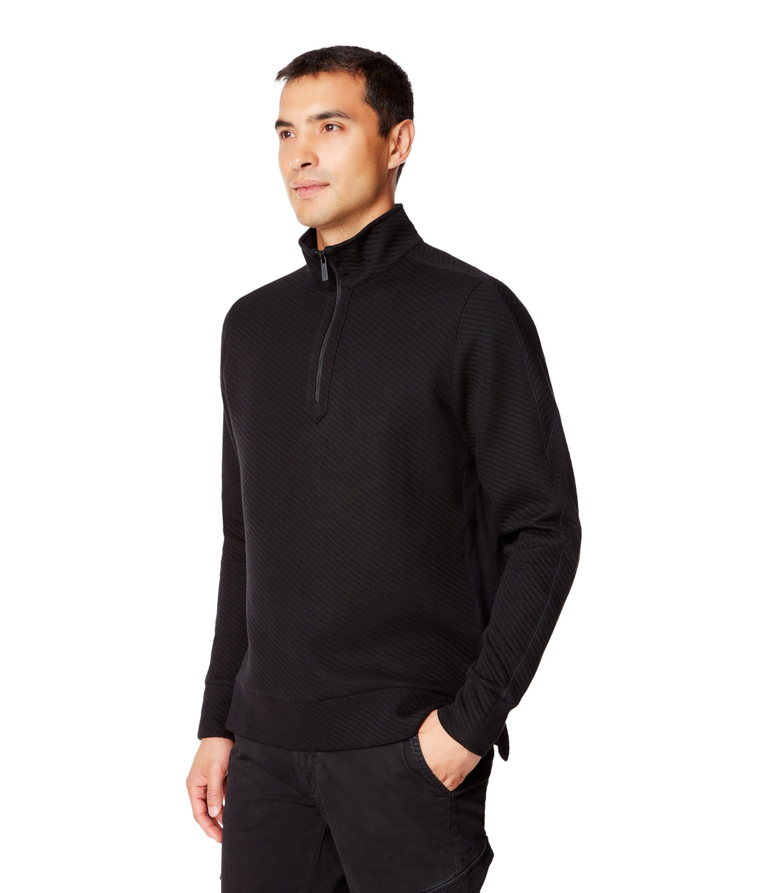 Twill Quilt Jacquard Pro 1/4 Zip Sweatshirt - Black - Good Man Brand - Twill Quilt Jacquard Pro 1/4 Zip Sweatshirt - Black
