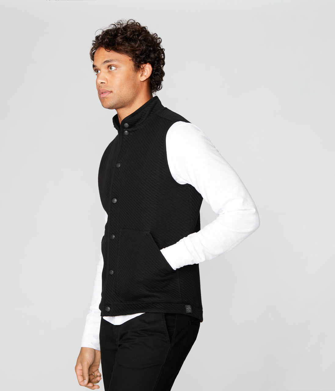 Fuji Shirt Jacket Vest in Twill Knit Jacquard - Black - Good Man Brand - Fuji Shirt Jacket Vest in Twill Knit Jacquard - Black