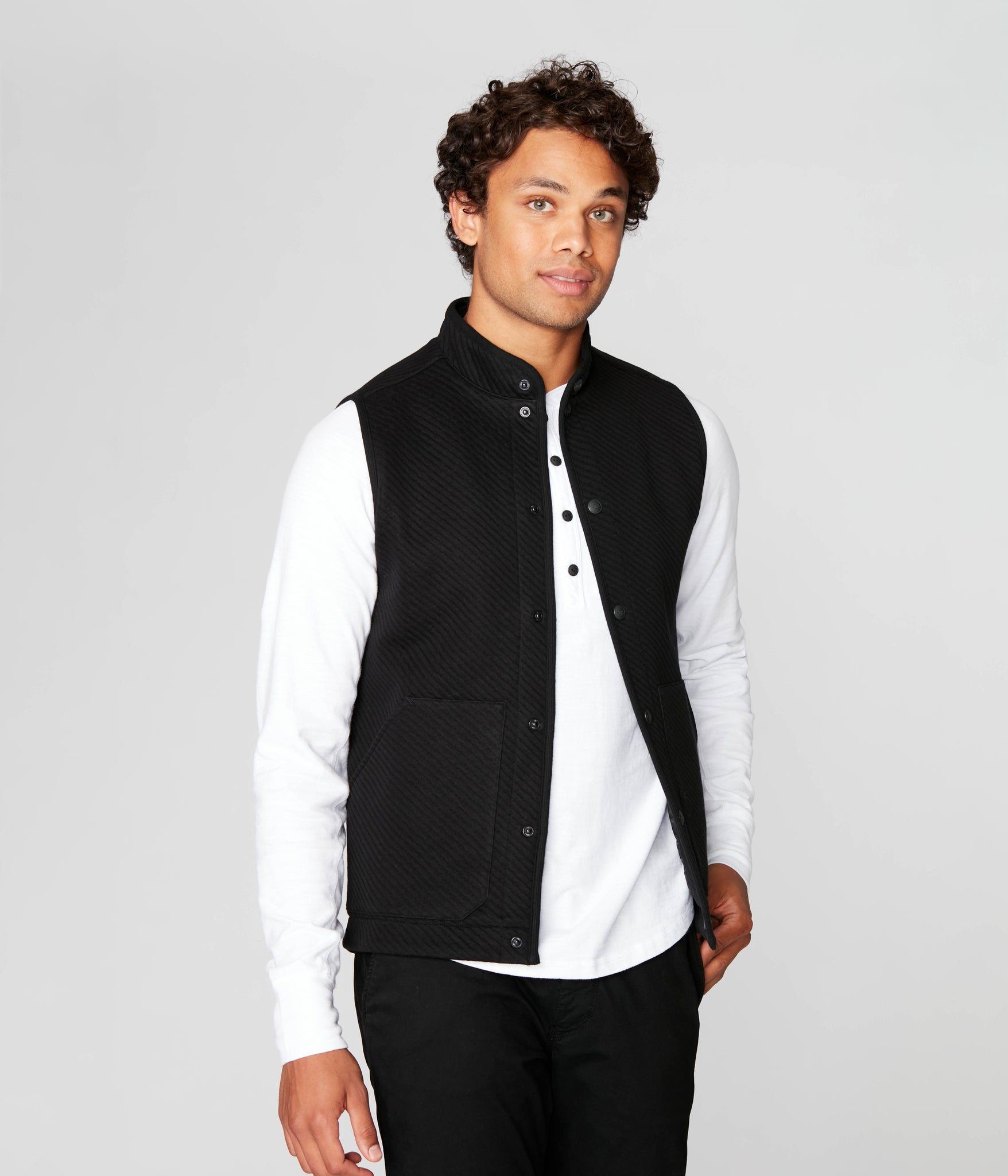 Fuji Shirt Jacket Vest in Twill Knit Jacquard - Black