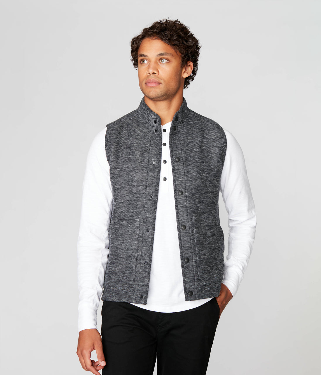 Twill Quilt Jacquard Fuji Shirt Jac Vest - Charcoal Heather - Good Man Brand - Twill Quilt Jacquard Fuji Shirt Jac Vest - Charcoal Heather