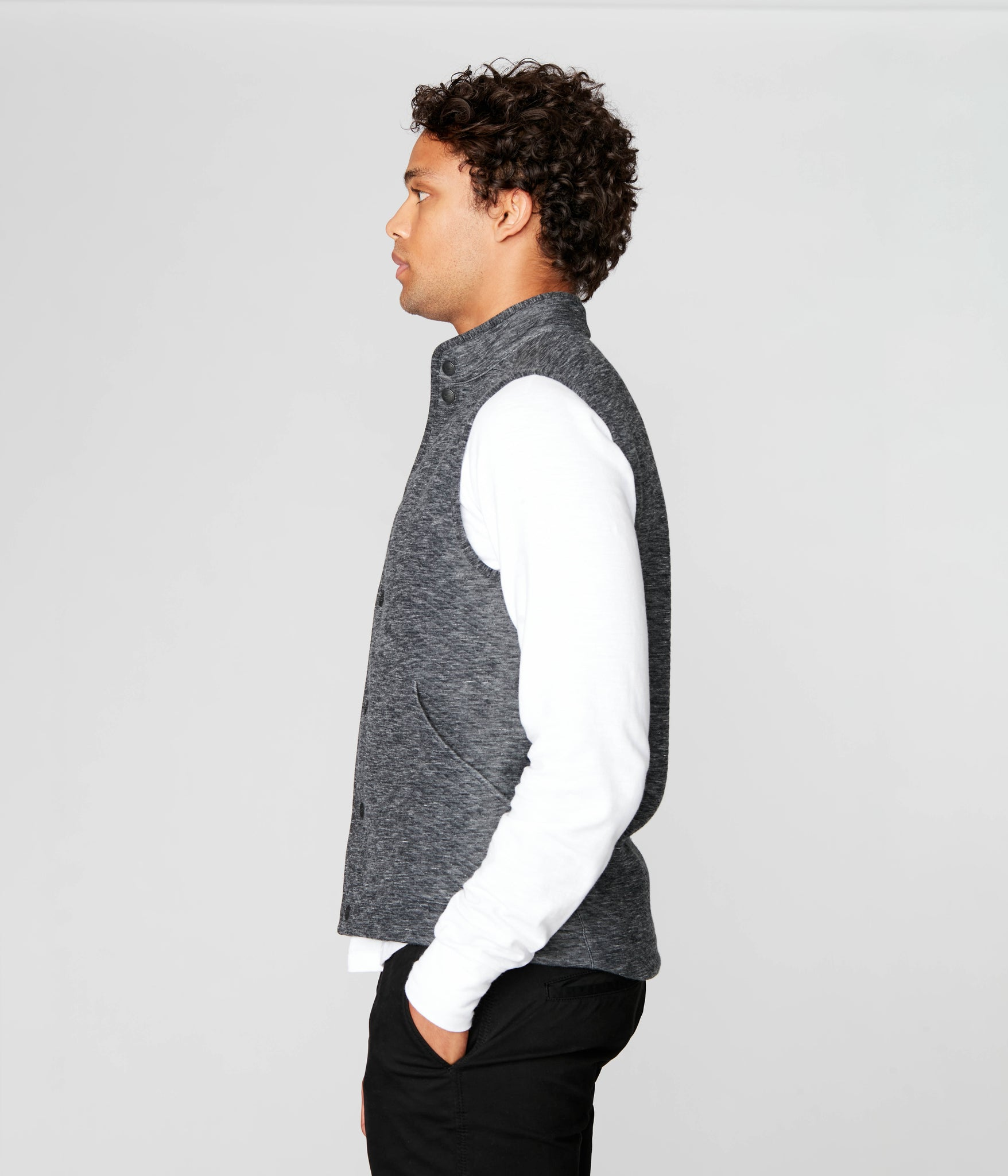Twill Quilt Jacquard Fuji Shirt Jac Vest - Charcoal Heather
