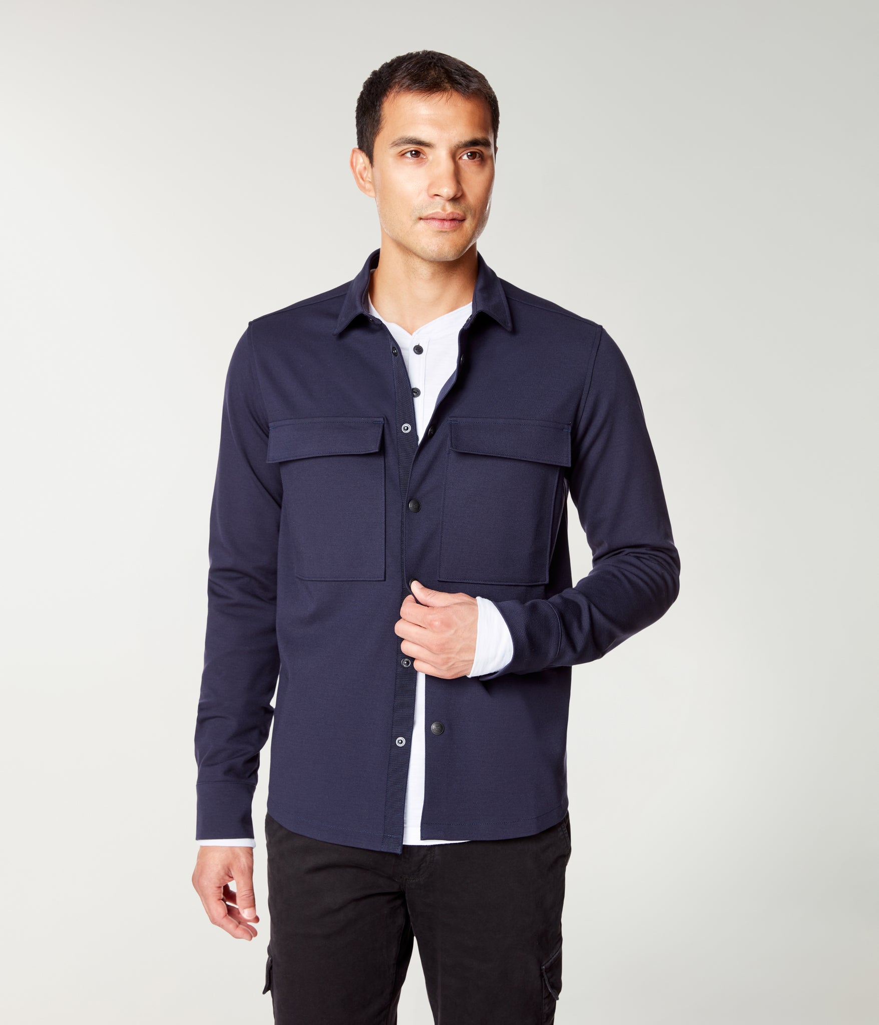 Tech Jersey Knit Stadium Shirt Jacket - Navy