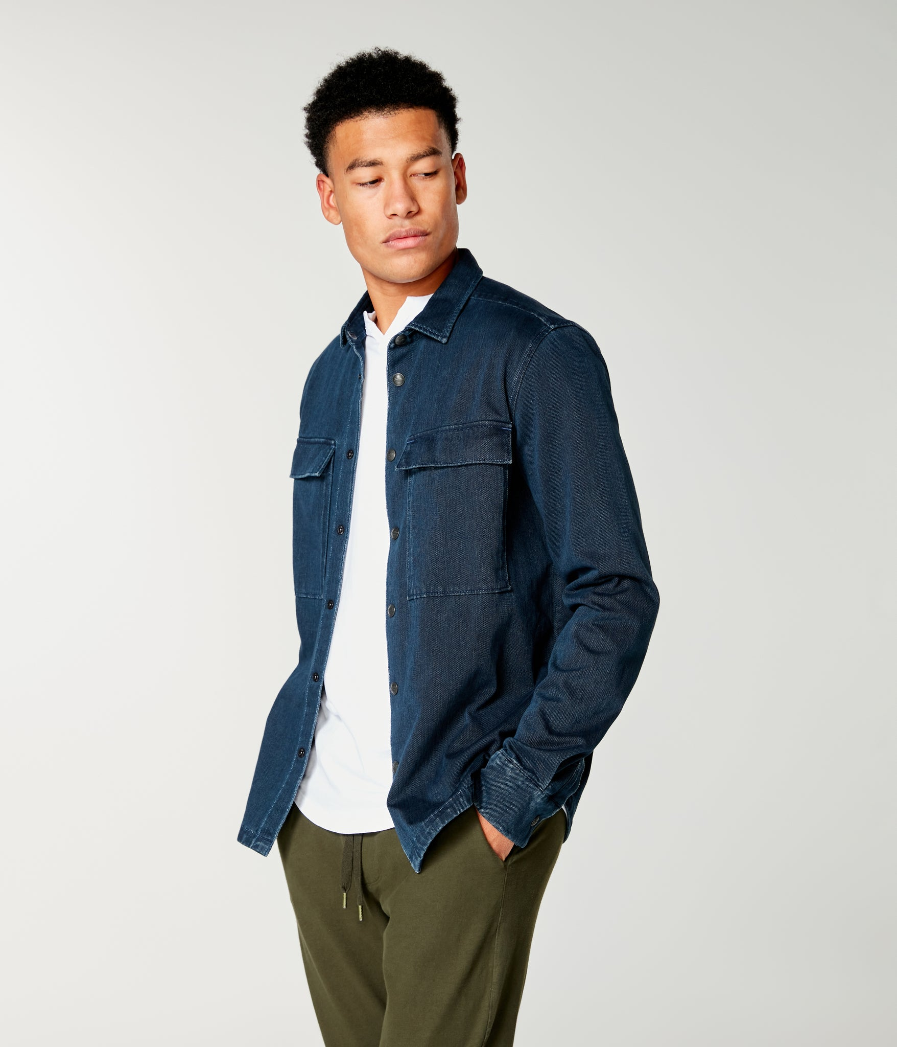 Twill Knit Stadium Shirt Jacket - Indigo