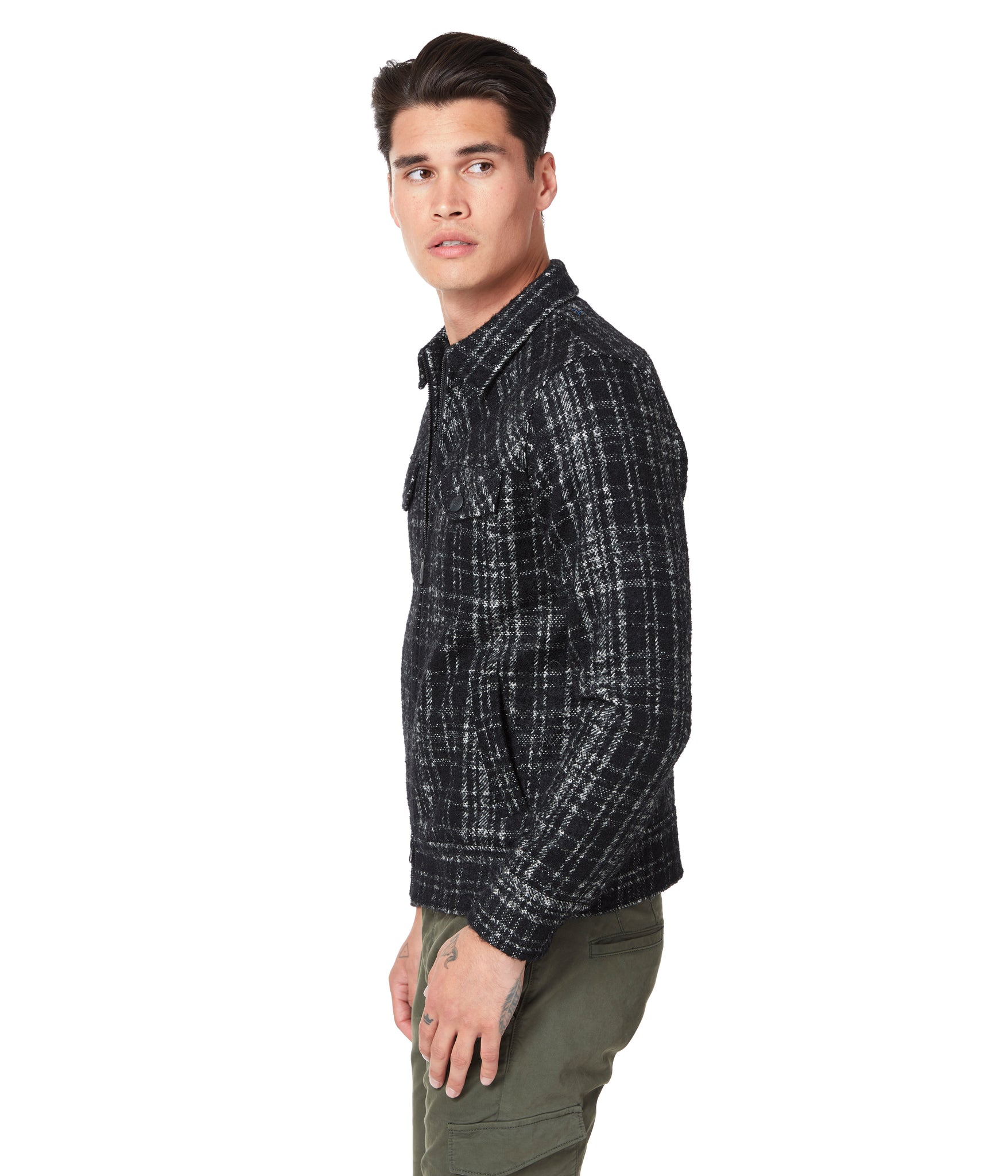 Black Tartan Telluride Trucker Jacket - Black