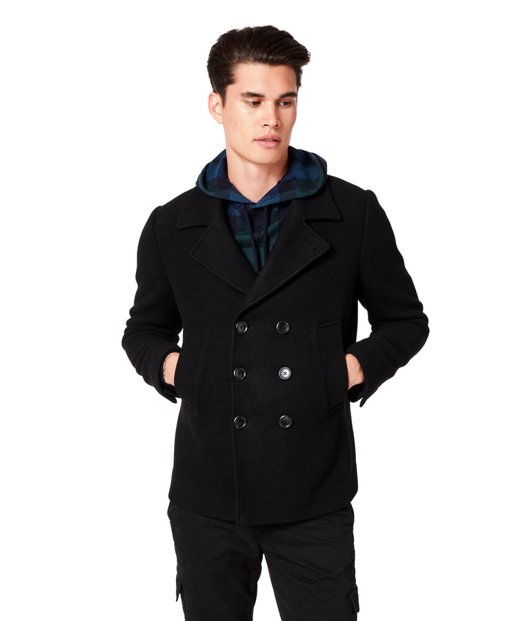 Melton Jersey London Docks Pea Coat - Black - Good Man Brand
