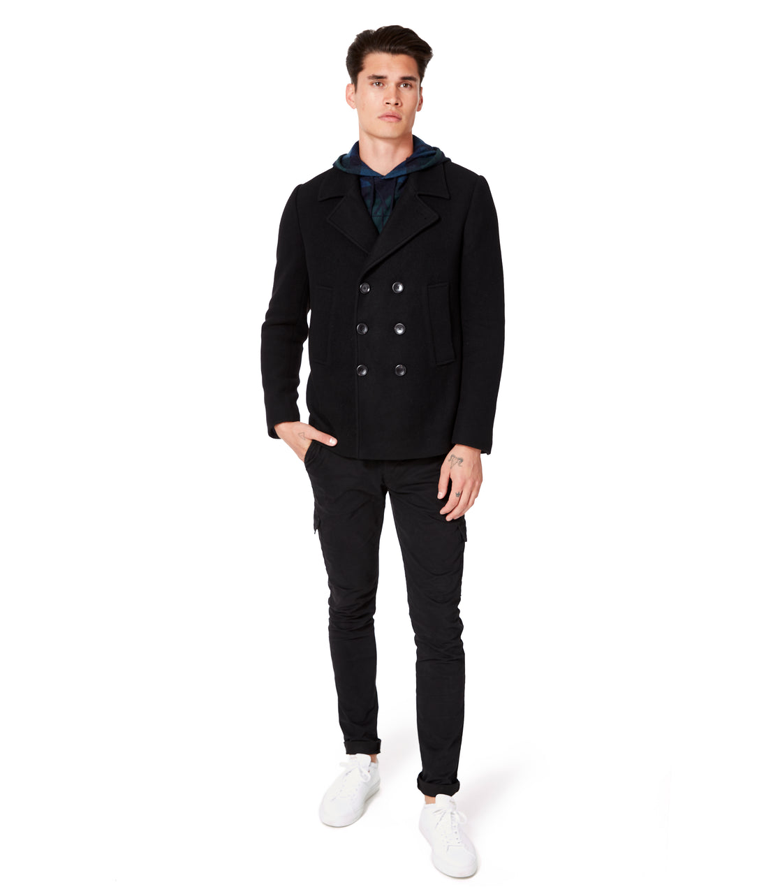 Melton Jersey London Docks Pea Coat - Black - Good Man Brand - Melton Jersey London Docks Pea Coat - Black