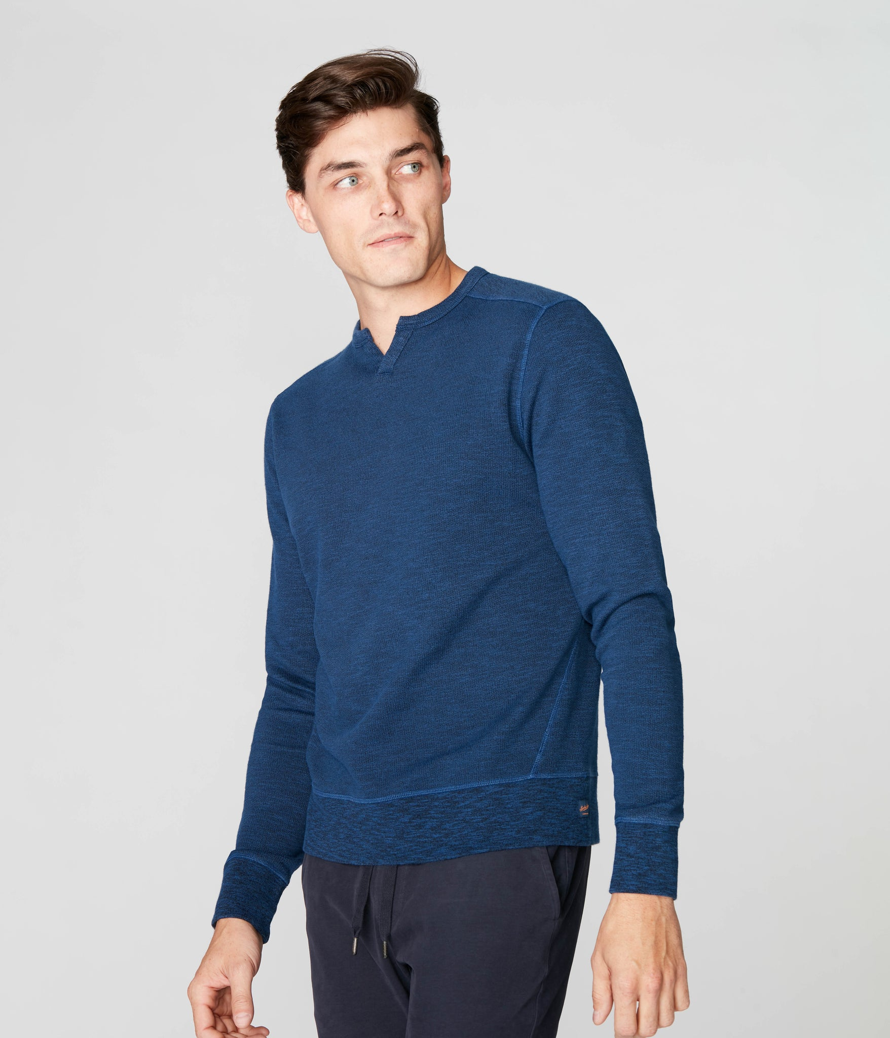 Victory V-Notch Sweatshirt in Black Marl - Blue