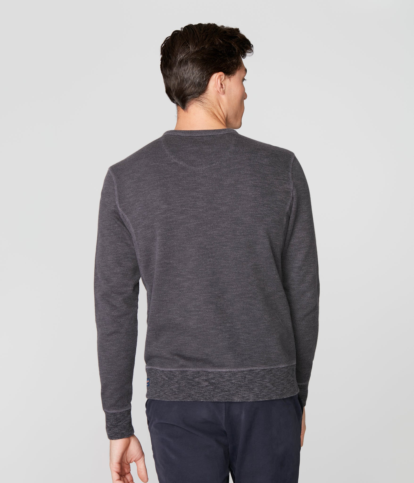Victory V-Notch Sweatshirt in Black Marl - Magnet