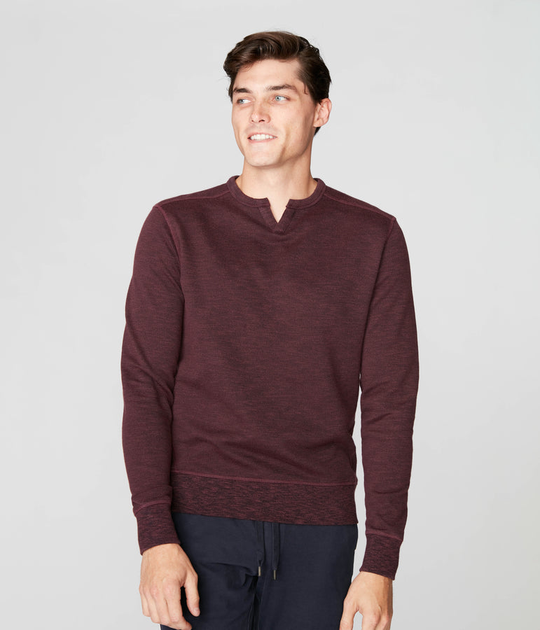 Victory V-Notch Sweatshirt in Black Marl - Wine - Good Man Brand