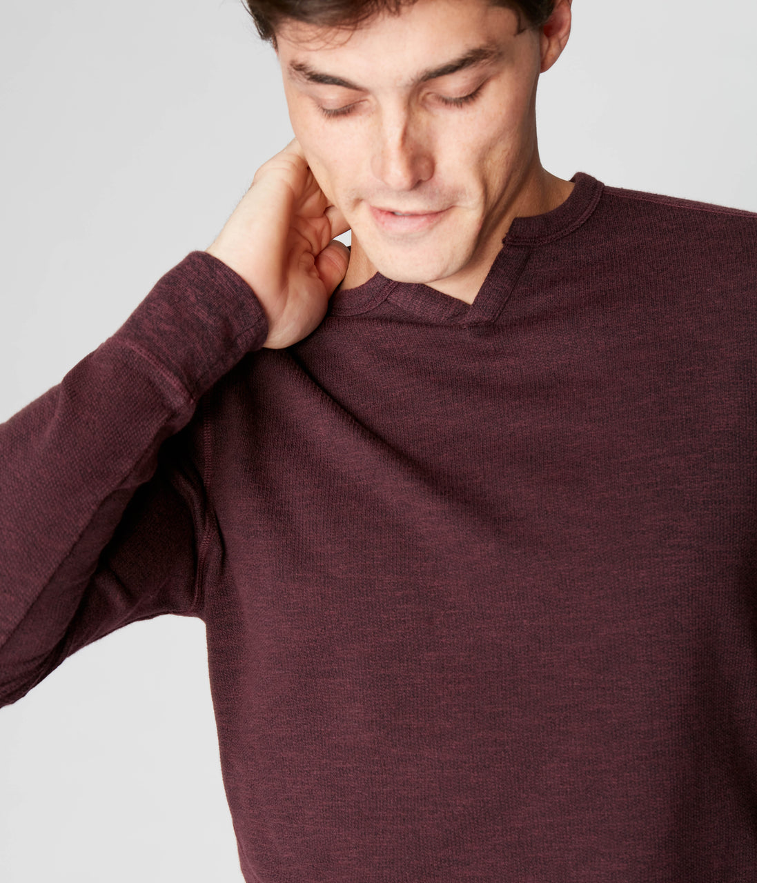 Victory V-Notch Sweatshirt in Black Marl - Wine - Good Man Brand - Victory V-Notch Sweatshirt in Black Marl - Wine