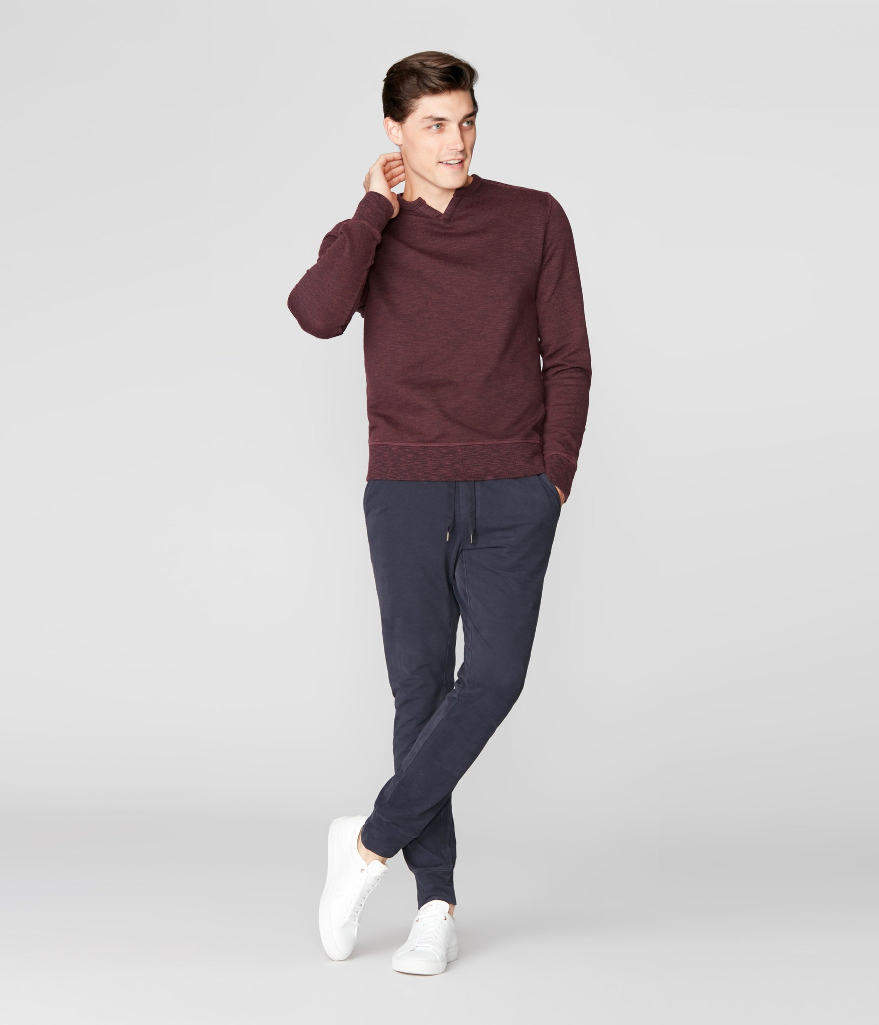 Victory V-Notch Sweatshirt in Black Marl - Wine