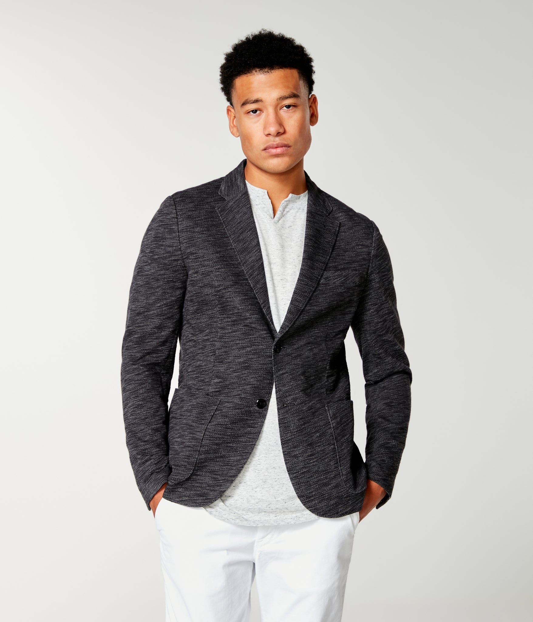Twill Slub French Terry Soft Blazer - Black