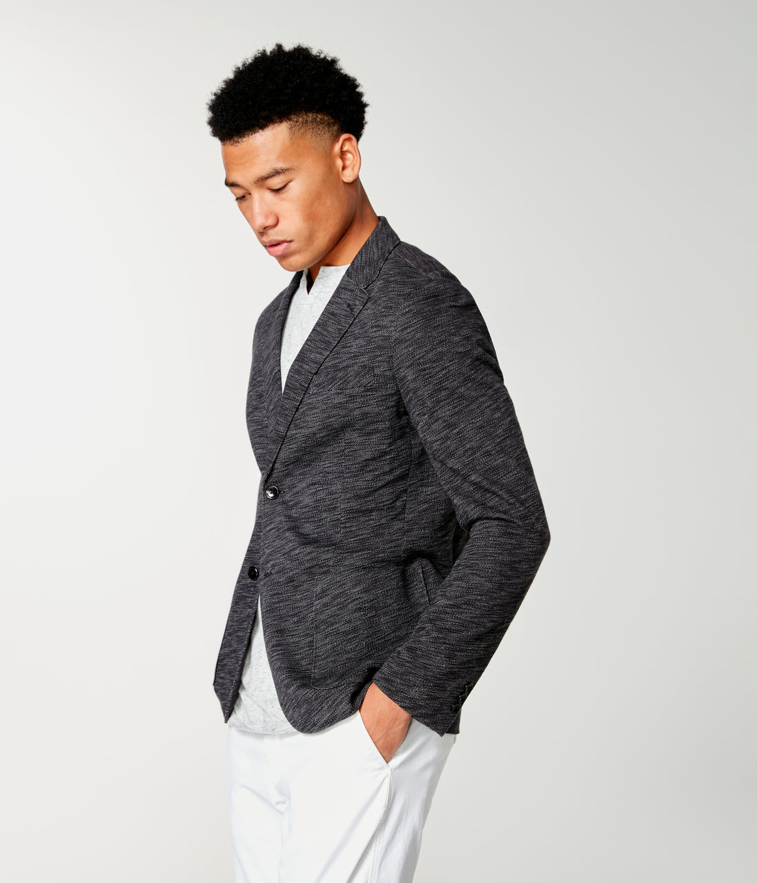 Twill Slub French Terry Soft Blazer - Black / Grey Heather - Good Man Brand - Twill Slub French Terry Soft Blazer - Black