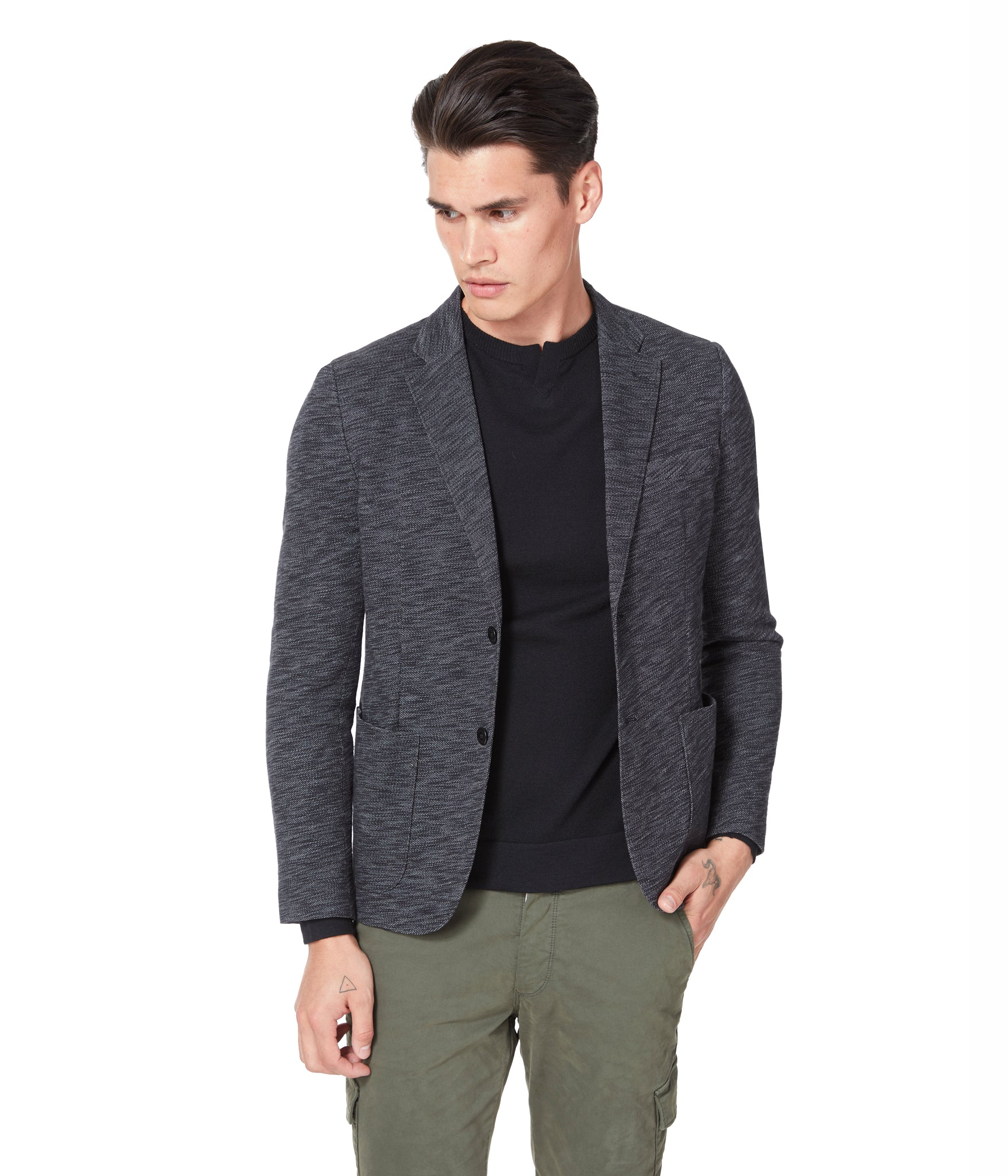 Vintage Twill Slub French Terry Soft Blazer - Black / Grey Heather