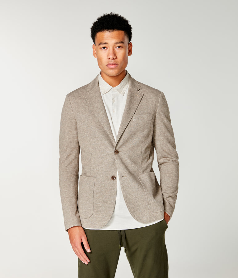 Twill Slub French Terry Soft Blazer - Terra Heather - Good Man Brand