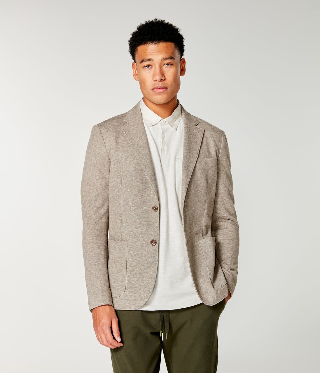 Twill Slub French Terry Soft Blazer - Terra Heather - Good Man Brand - Twill Slub French Terry Soft Blazer - Terra Heather