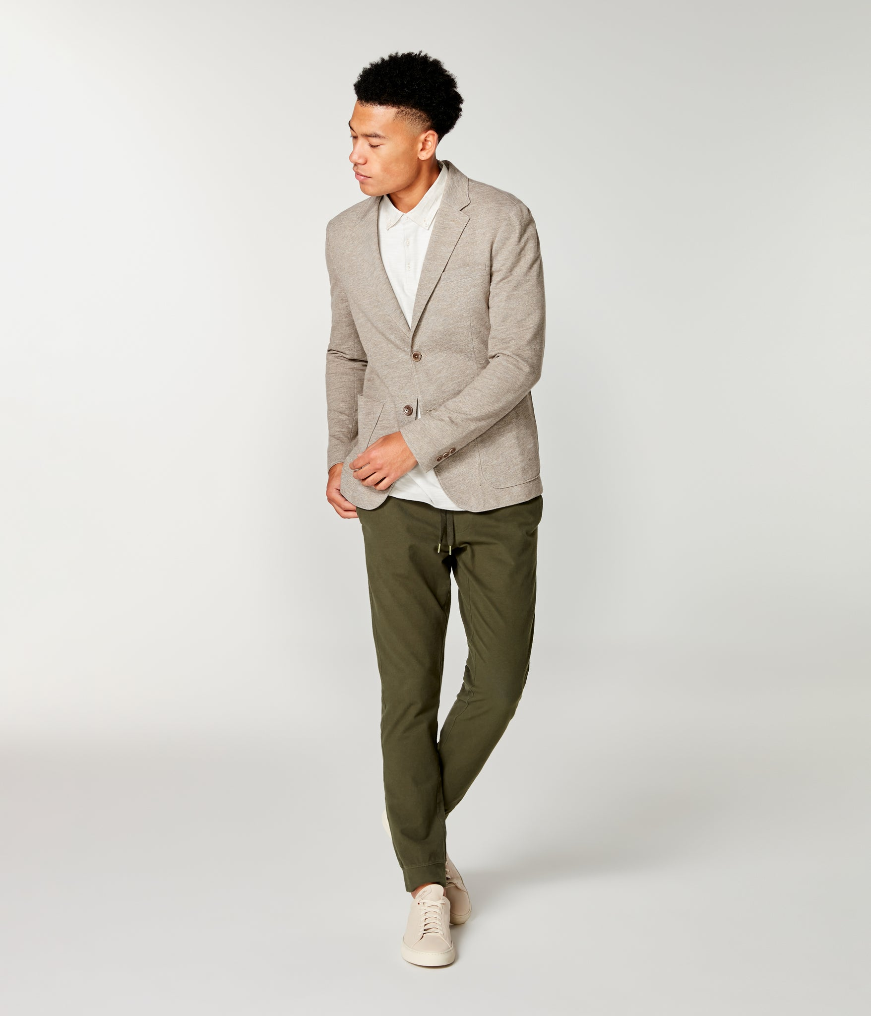Twill Slub French Terry Soft Blazer - Terra Heather